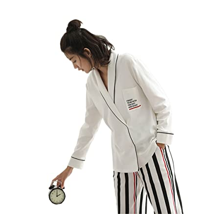 3d9ce508af White long-sleeved cotton pajamas female spring and autumn fashion casual cardigan  Long - Sleeved