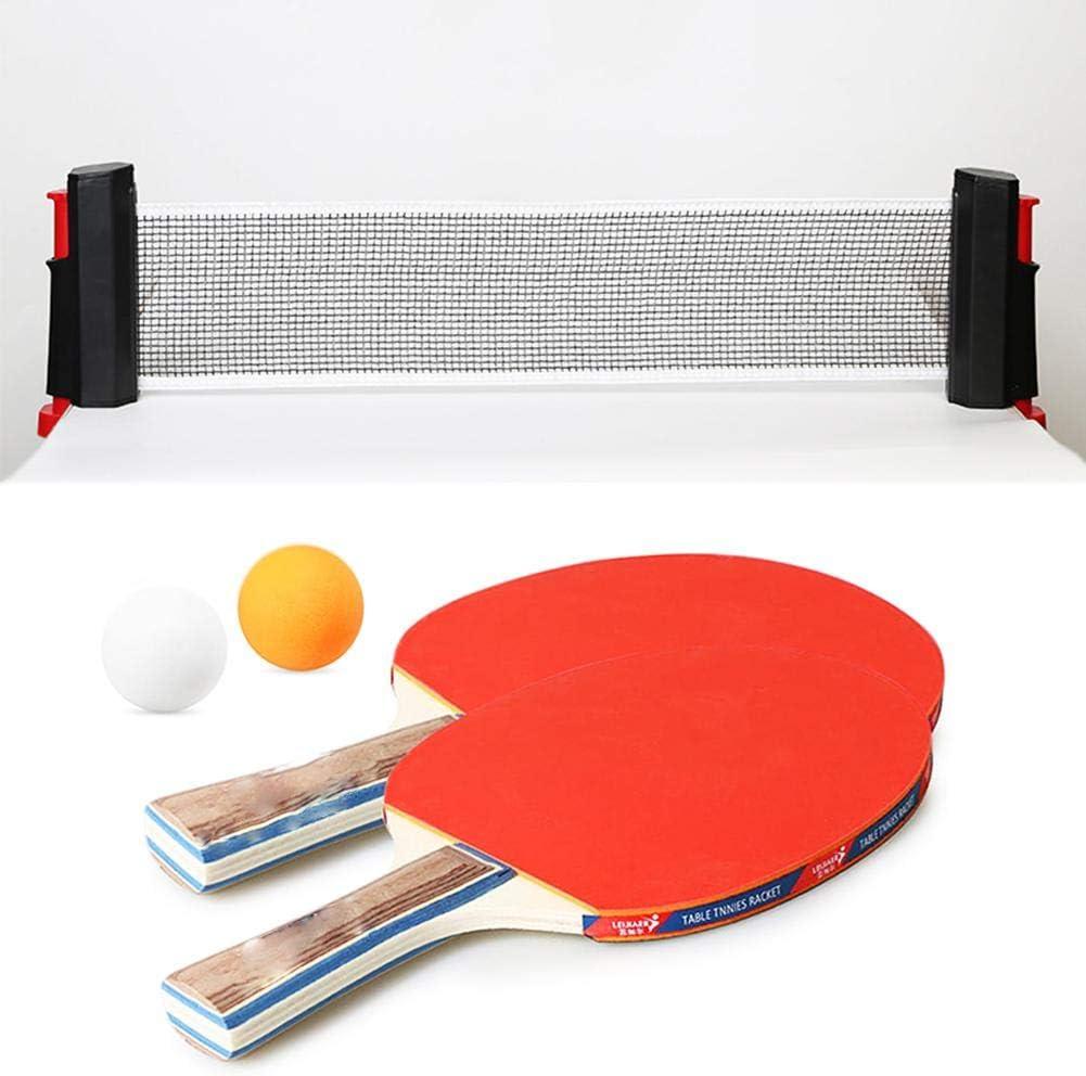 Greatideal Juego De Tenis De Mesa Instantáneo Kit De Red De Ping-Pong Retráctil con 2 Palos Y 2 Pelotas Juego De Interior/Exterior para Niños, Adultos, Escuela, Hogar, Oficina, Portátil