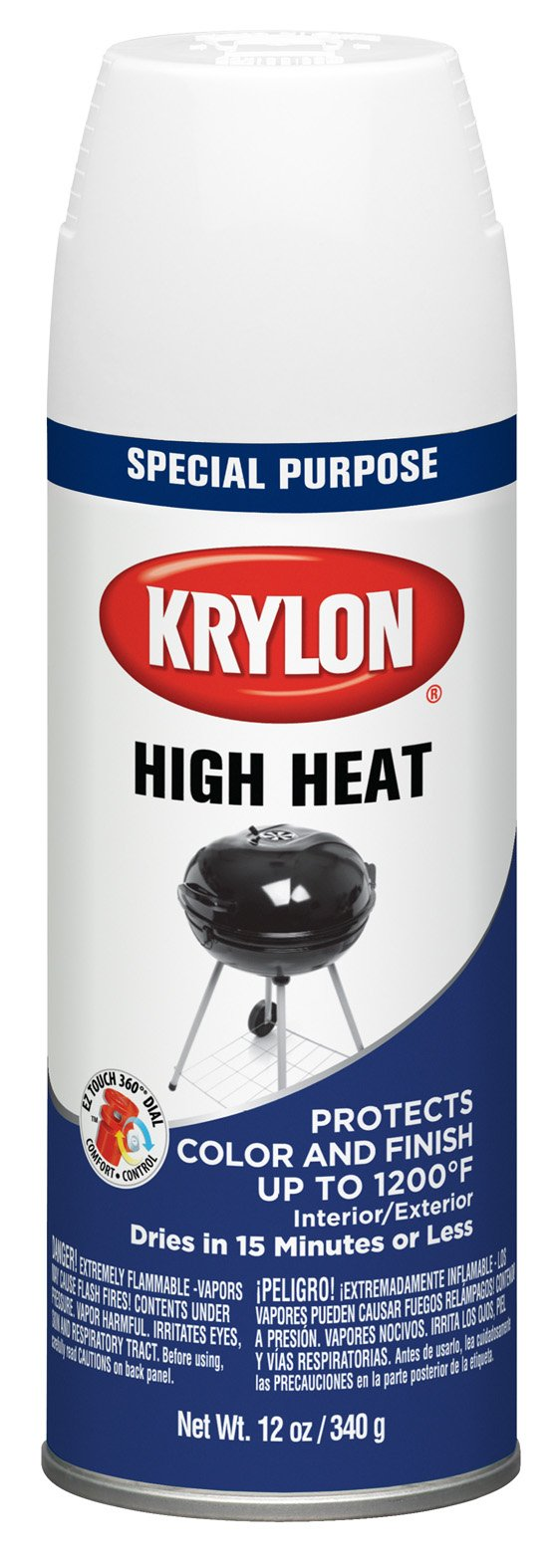 Krylon 1505-6 PK White High Heat and Radiator Paint - 12 oz. Aerosol, (Case of 6)