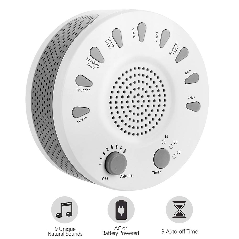 White Noise Machine, Portable Sleep Therapy for Home, Office,Bedroom,Baby & Travel,9 Natural Smoothing and Relaxing Sounds,3 Timer,USB or Battery Powered