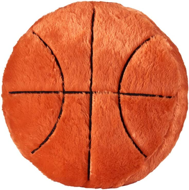 Ozzptuu Sports Theme Stuffed Plush Throw Pillows Round Shape Back Cushion Home Office Sofa Decor (Basketball)