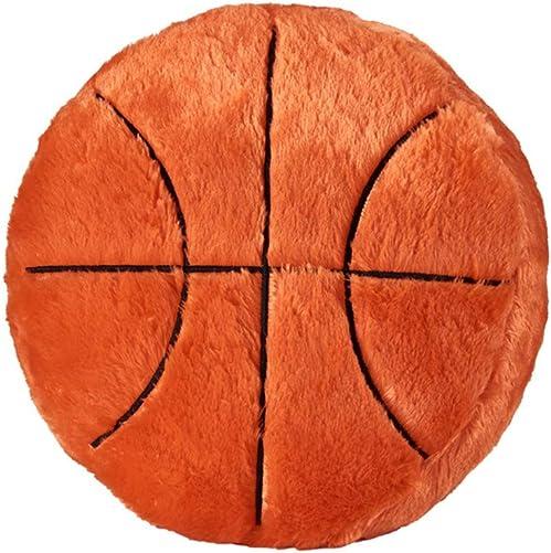 Ozzptuu Sports Theme Stuffed Plush Throw Pillows Round Shape Back Cushion Home Office Sofa Decor Basketball