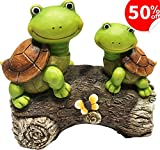 LA JOLIE MUSE Garden Statue Outdoor Figurines Turtles on a Log for Patio Lawn Yard Gardening Decor, 9Inch