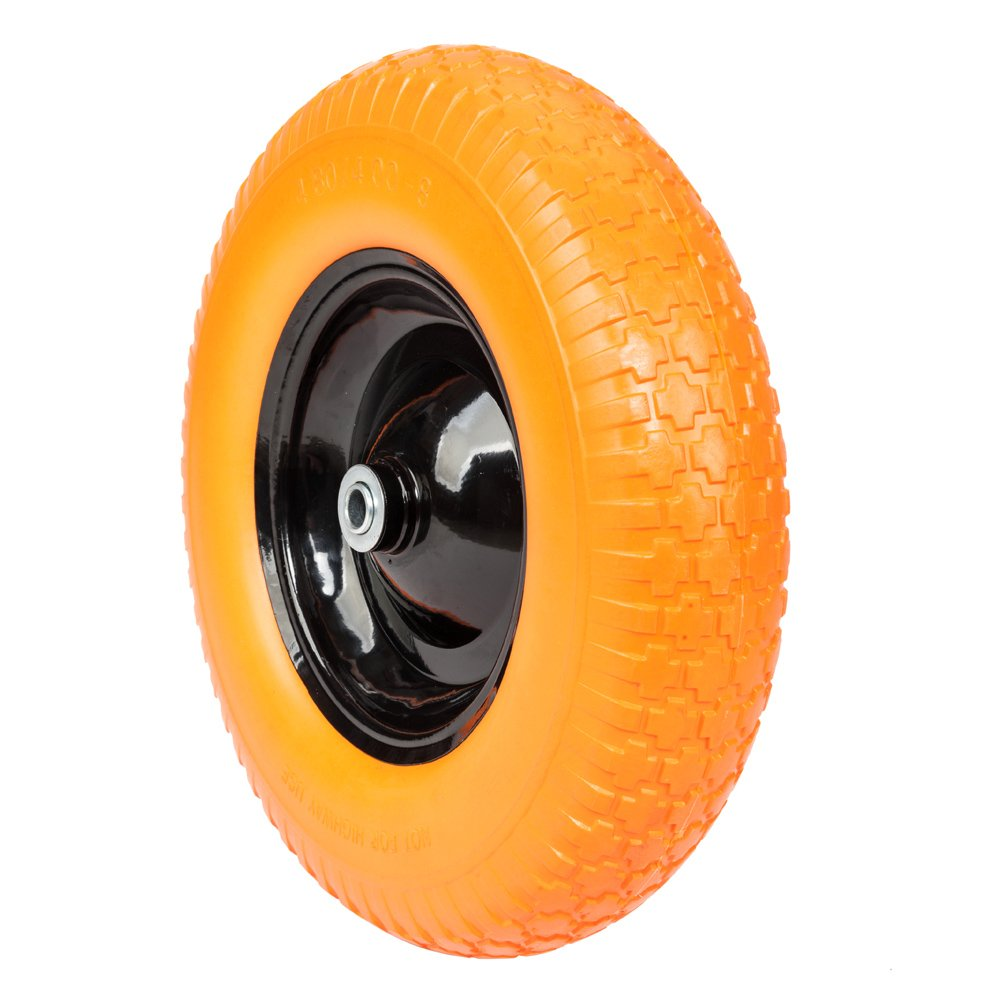 FCH Anti Flat Replacement Ribbed Wheel for Wheelbarrow 16 Inch No Flat Tire 5/8 Axle Cart Wagon