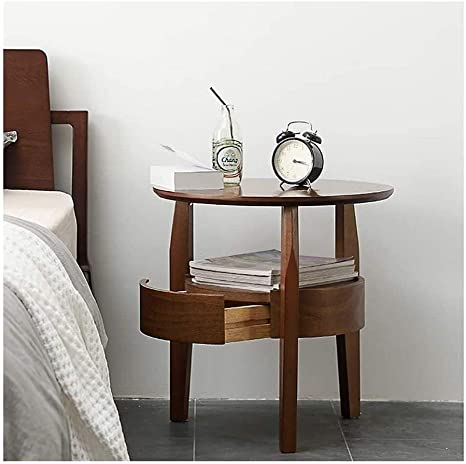 Youyijia Side Table 40x27x56cm Wood Plastic Plate End Table Side Table 2 Tier Small Table (White)