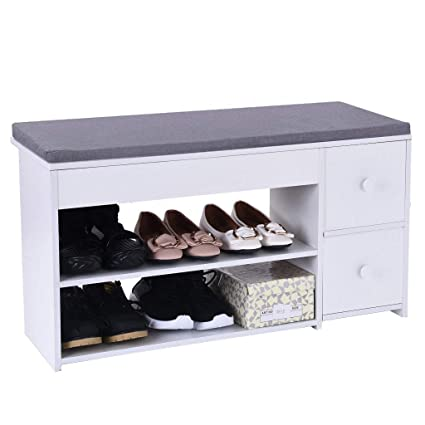 Outstanding Amazon Com Beyonds Entryway Shoe Storage Bench White Shoes Caraccident5 Cool Chair Designs And Ideas Caraccident5Info