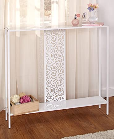 The Lakeside Collection Slim Metal Console Table White
