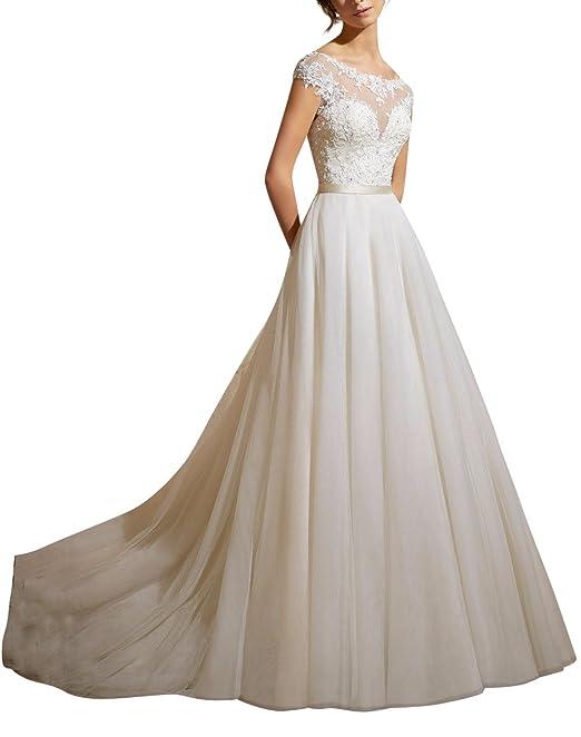 XUYUDITA Mujeres Cap manga de encaje Tulle A-Line Vestido de novia de la boda vestido de novia: Amazon.es: Ropa y accesorios