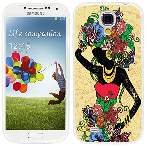 S4 Case,Samsung S4 Case,Galaxy S4 Case,ChiChiC full Protective Case slim durable Soft TPU Cases Cover for Samsung Galaxy S4,Beautiful fashion girl in a Red Dress with floral hair on yellow