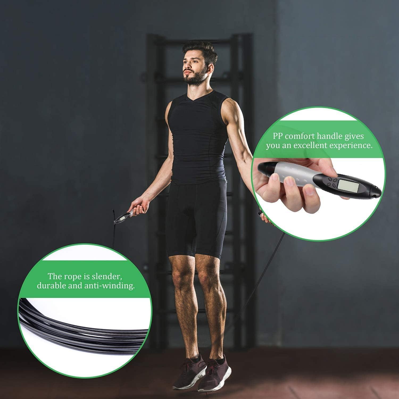 2 Formas de Ejercicio F/ísico en Casa Delgeo Comba Saltar Cuerda para Saltar Oficina o Gimnasio Cuerda de Salto de Alta Velocidad con o sin Cable Longitud Ajustable de 3m con Pantalla LCD