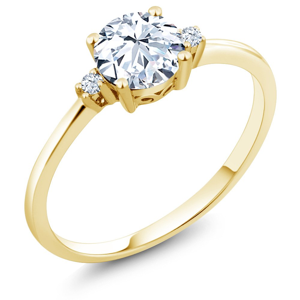 10K Yellow Gold Engagement Solitaire Ring set with 1.23 Ct Round Hearts And Arrows White Created Sapphires (Size 6)