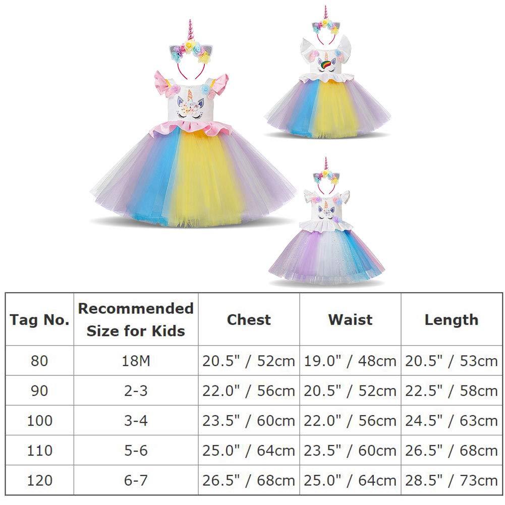 4c7c8fb7051b41 IBTOM CASTLE Enfant Fille Déguisement Licorne Robe Florale Princesse ...