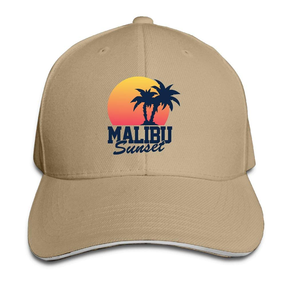 JustQbob1 Malibu Sunset Outdoor Snapback Sandwich Cap Adjustable Baseball Hat Plain Cap