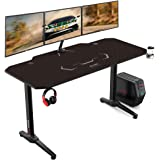 AuAg 55 inch Racing Style Gaming Desk Computer Desk Workstation T-Shaped Office PC Computer Sturdy Table with Free Mouse Pad,