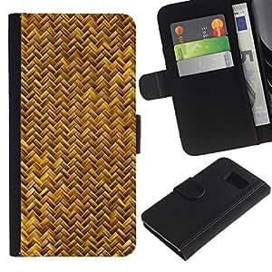 Billetera de Cuero Caso Titular de la tarjeta Carcasa Funda para Samsung Galaxy S6 SM-G920 / Scales Gold Yellow Snake Bling Chevron / STRONG