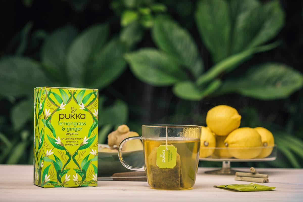 Pukka Herbal Teas Lemongrass and Ginger Caffeine Free, 20 count