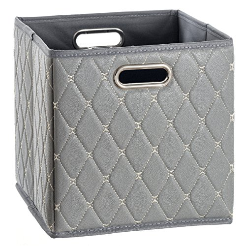 (Creative Scents Cube Storage Bin Faux Leather - Decorative Basket with Handles for Shelf - Foldable Storage Cube Organizer Bin for Closet Clothes Blanket Magazines Bedroom Nursery Under Bed (Gray))