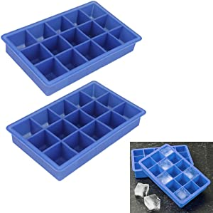 2 X Large Silicone Ice Cube Tray Maker Jelly Chocolate Candy Mold Party BPA Free