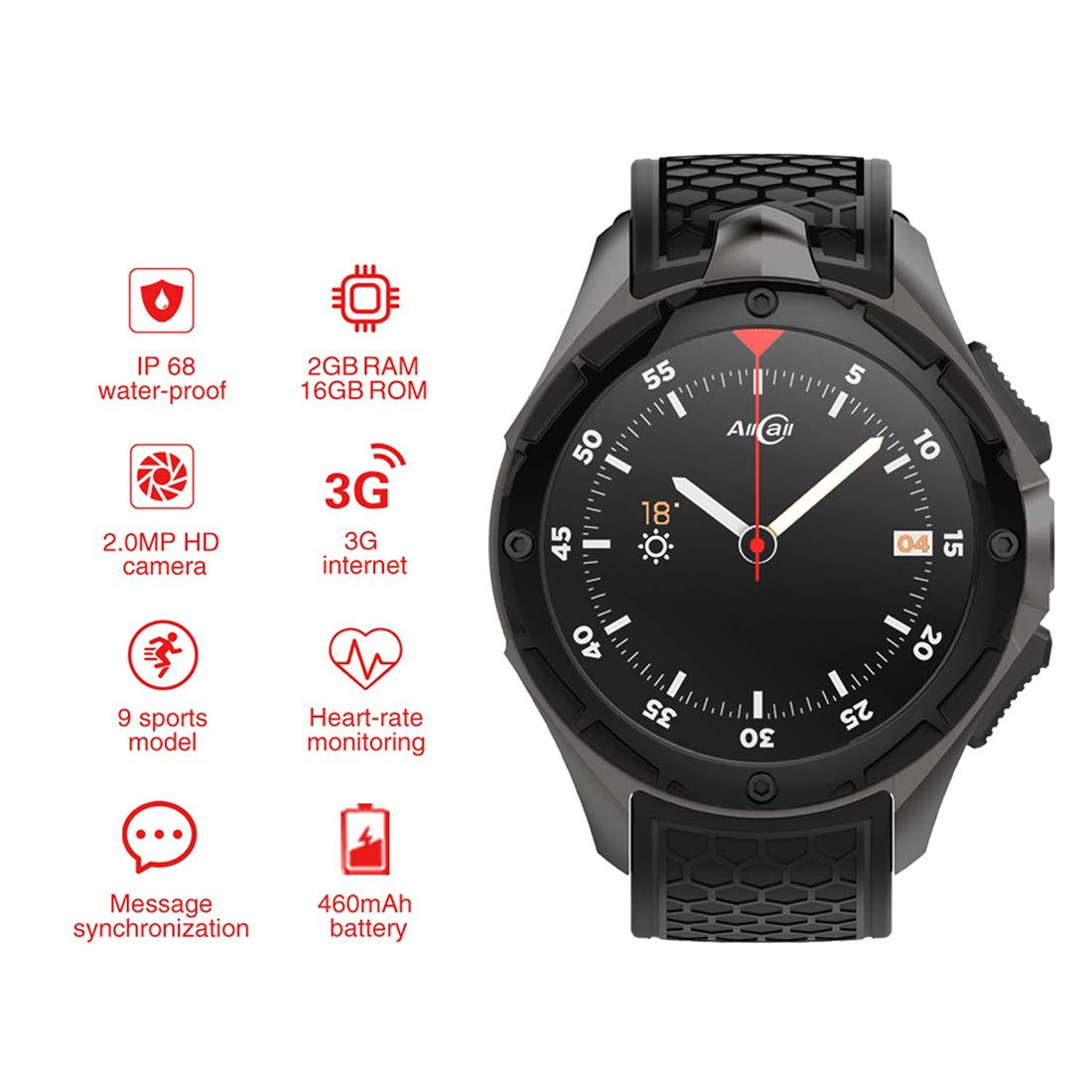 Amazon.com: LLC-CLAYMORE Android IP68 Waterproof Smartwatch ...