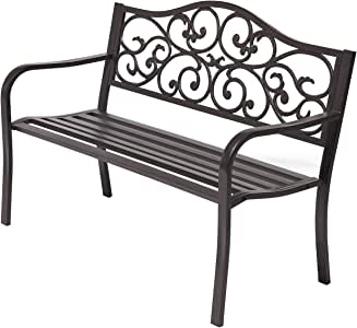 """Laurel Canyon 50"""" Outdoor Patio Bench, Cast Iron 2-Person Metal Seating with Floral Design Backrest Furniture Chair for Porch Backyard Garden Pool Deck, Dark Brown"""