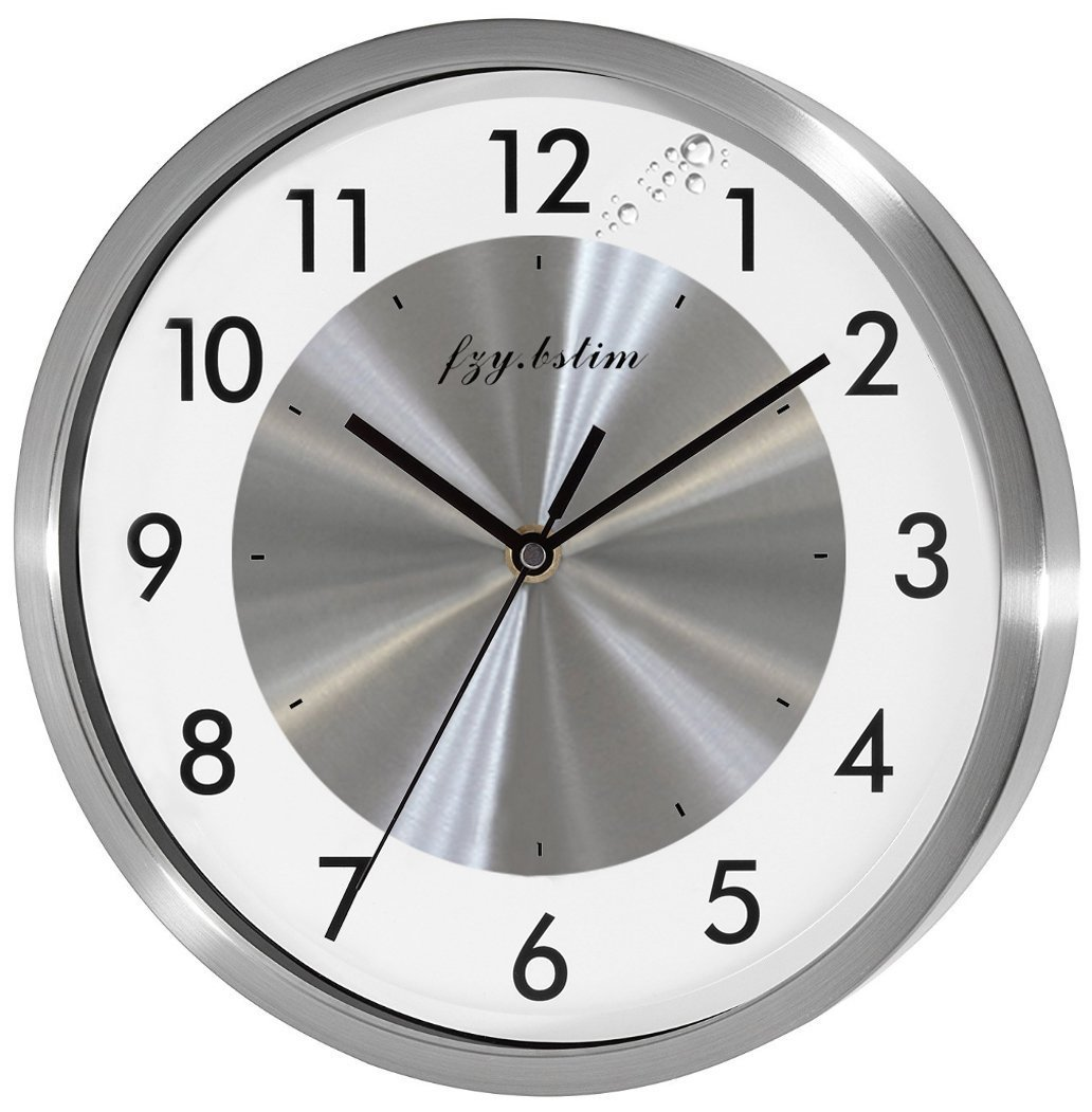 Fzy.bstim Non Ticking Silent Wall Clock Decorative,Analog Stainless Steel Wall Clock Battery Operated,Bedroom/Living Room/Office/Kitchen Clock,10 Inch,Silver by Fzy.bstim