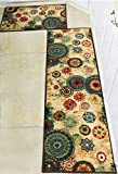 Cheap Boho Area Rugs Retro Floral – MeMoreCool Home Living Mats Protective Decorative Carpets 2PC ( 20 X 31 + 20 X 59 Inch )