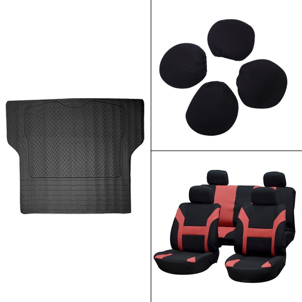 Scitoo 9-PCS Trunk Liner Floor Mat Black/Red Durable Car Seat Covers for Heavy Duty Vans Trucks