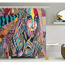 Ambesonne Modern Art Shower Curtain by, Sexy Girl with Tribal Dreamcatcher and Ethnic Murky Oriental Bohemian Paint, Fabric Bathroom Decor Set with Hooks, 70 Inches, Multicolor