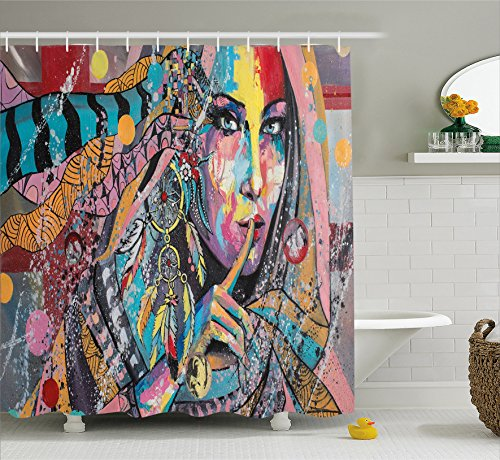 Modern Art Shower Curtain by Ambesonne, Sexy Girl with Tribal Dreamcatcher and Ethnic Murky Oriental Bohemian Paint, Fabric Bathroom Decor Set with Hooks, 70 Inches, - Girls Sexy Dorm