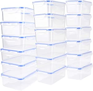 Tauno 18 Pack Food Storage Containers Plastic with Lids, Reusable Storage Bowls Snap Lock, Dishwasher Safe Small for Leftovers 79 Cup /20 Quart Total