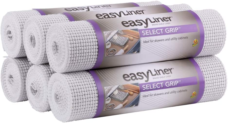 Duck Brand Select Grip EasyLiner Shelf and Drawer Liner Non-Adhesive, 12-Inch x 10-Feet, 6-Rolls, White
