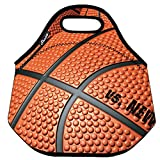 Shubb Lunch Boxes, Noprene Lunch Totes Insulated Picnic Bags for Office School for Men Women Kids - Machine Washable - Basketball