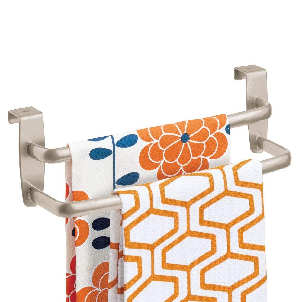 la salle de bain ou le garage Largeur : 23 cm Couleur : Noir mat Porte-torchon /à suspendre sur un placard Accroche torchon pour la cuisine mDesign Porte-serviettes