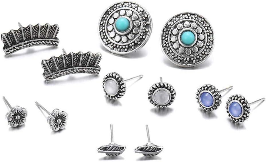 SSEHXL Pendientes 6 Pares/Set Bohemio Pendiente Stud Set Vintage geométrico Cristal Piedra Piedra Flor Hoja Pendientes Regalo de la joyería para Mujeres