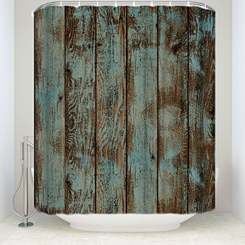 KAROLA Fabric Bathroom Decor with Hooks Vintage Wooden Shower Curtain Rustic Planks - 36 x 72 Inches