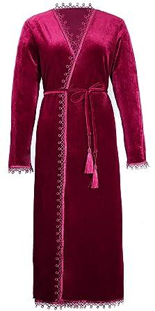 BellisMira Women s Velvet Dressing Gown Winter Pajamas Warm Bathrobe Wrap  Kimono Elegant Flannal Robe Sleepwear Red 1ae1c33a4