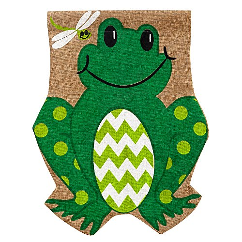 Evergreen Friendly Frog Double-Sided Burlap Garden Flag- 12.