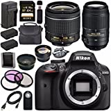 Nikon D3400 DSLR Camera with AF-P 18-55mm VR Lens (Black) + Nikon 55-300mm f/4.5-5.6G ED VR Lens + EN-EL14 Replacement Lithium Ion Battery + External Rapid Charger + Carrying Case Bundle