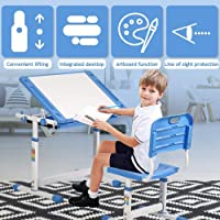 Kids Desk and Chair Set, Height Adjustable Study Table Workstation, Ergonomic Student Study Kid Table w/Tilting Desktop & Drawers Storage, Durable Double-Side Seat Back for School Students (Blue)