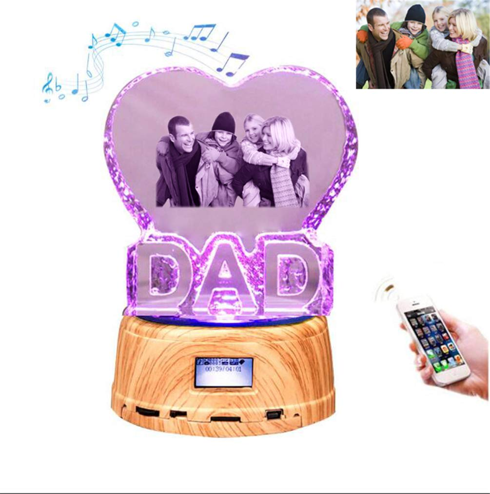 DAD Personalized Night Light Custom Photo Crystal Music Light Father's Day Gift(Wood 14.29cm)