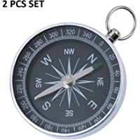 LUKZER Aluminum Mini Keychain Ring Precise Compass Metal Accurate Compact Outdoor Hiking 2 Pcs