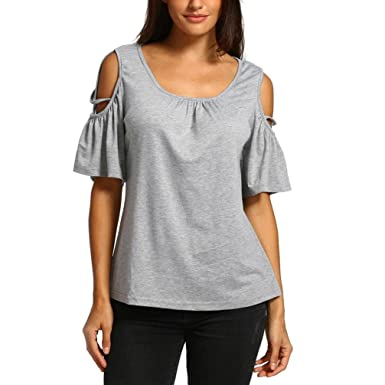 52864318258c0 iTLOTL Women Summer Short Sleeve Strappy Cold Shoulder T-Shirt Tops Blouses (US