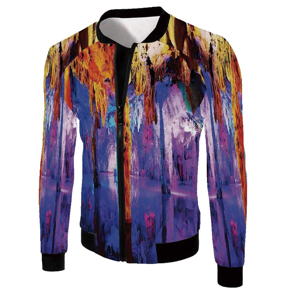 Landscape Stylish Jackets,Fantasy Theme Mystic Mountains with a Tree and Cloudy Sky Fairytale Artwork for Men,S