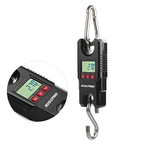 Báscula de suspensión digital RISEPRO®, con grúa de bolsillo para equipaje de pesca,