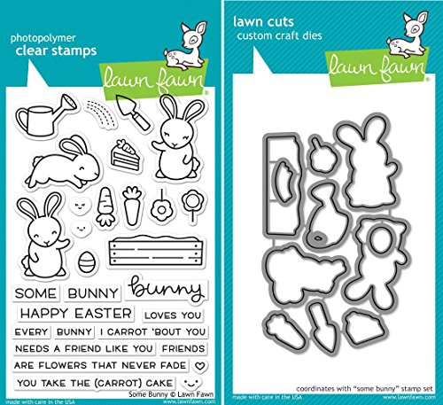 Lawn Fawn Some Bunny Clear Stamp and Coordinating Die Set - 2 Item Bundle (LF1587, LF1588) (Lawn Fawn Bunnies)