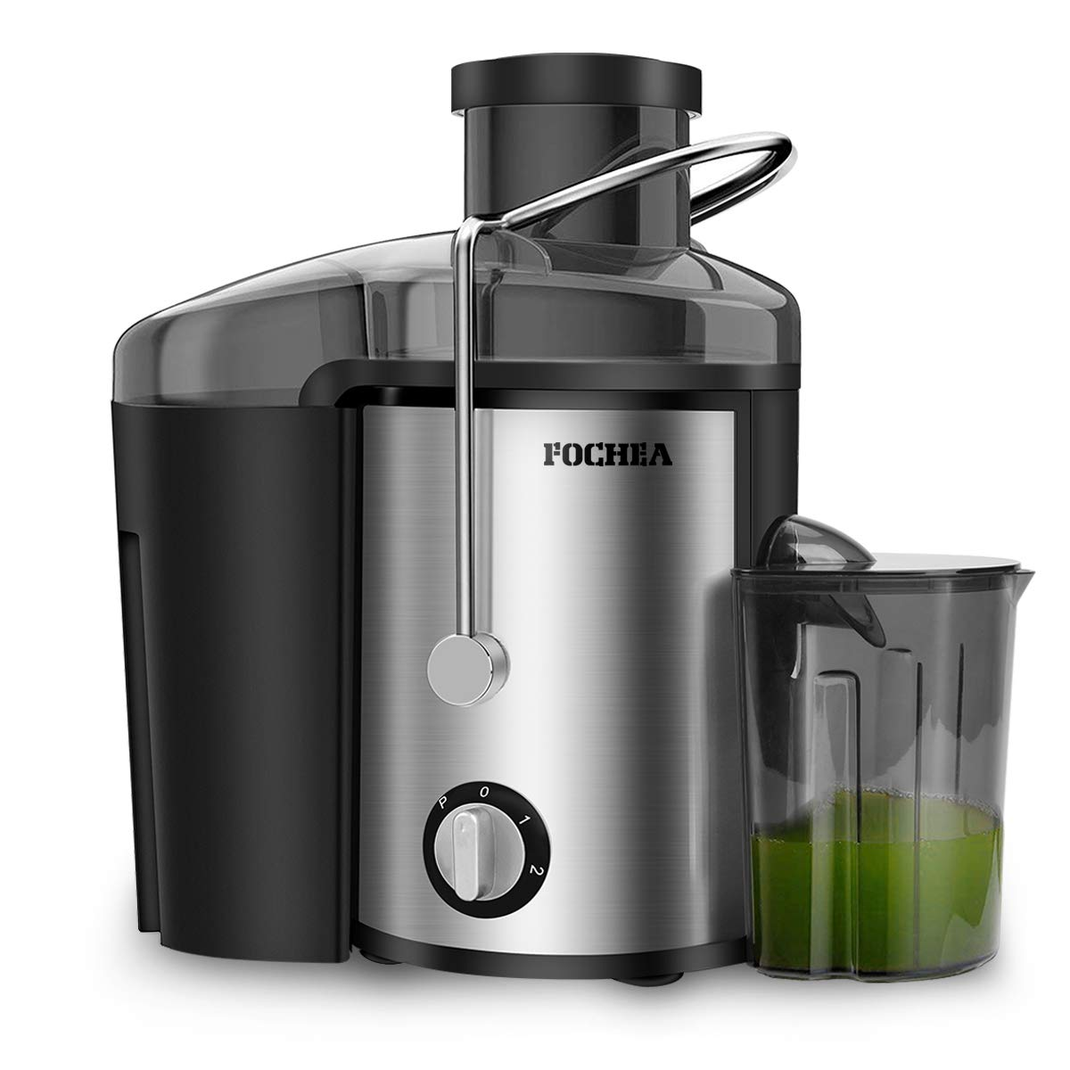 Juice Extractor, FOCHEA 400W Stainless Steel Centrifugal Juicer with 65MM Wide Mouth, 3 Speed Setting Juicer Machine with 450ml Juice Container & Cleaning Brush for Fruits and Vegetables