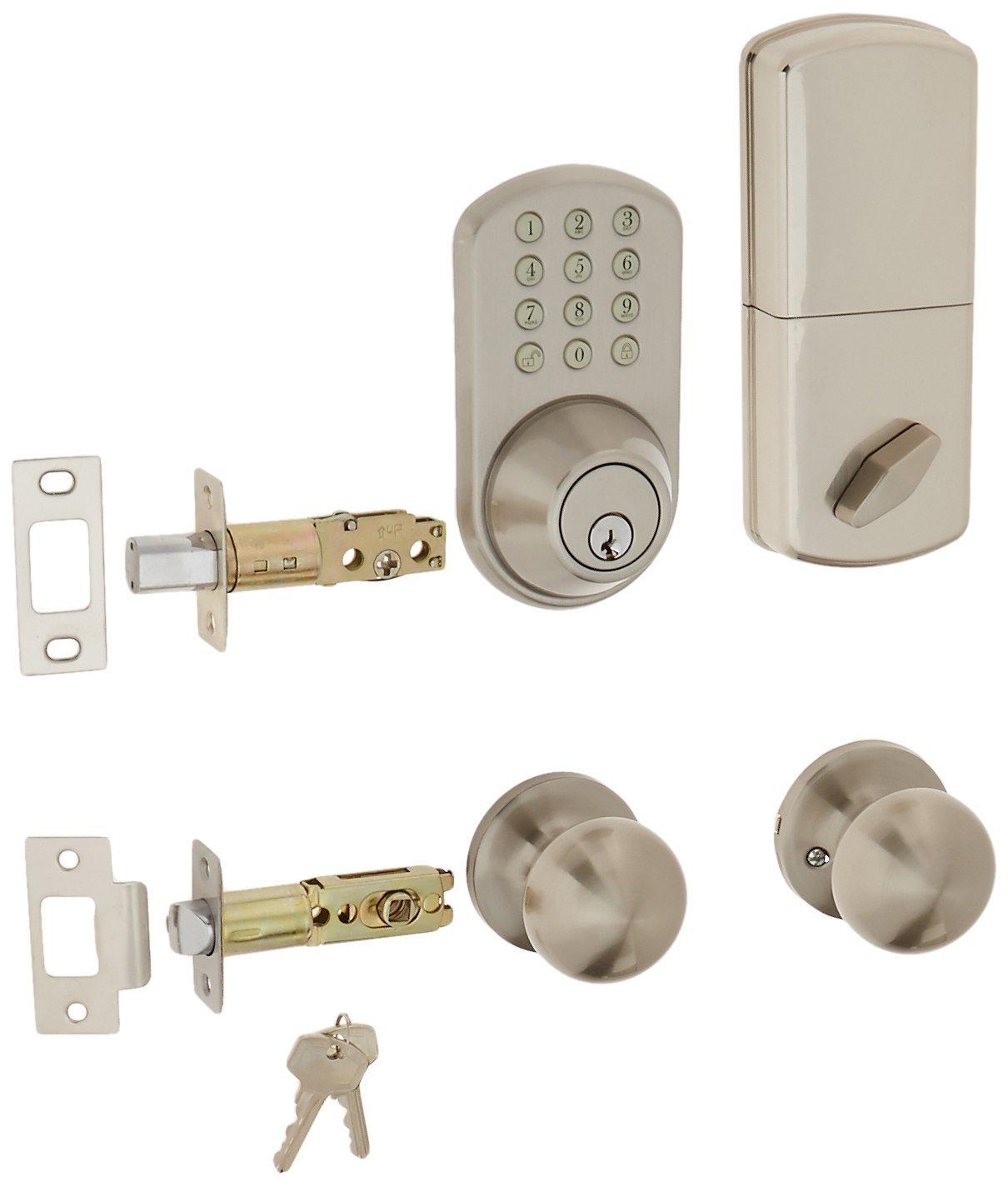 MiLocks TFK 02SN Digital Deadbolt Door Lock And Passage Knob Combo With  Keyless Entry Via Keypad Code For Exterior Doors, Satin Nickel      Amazon.com