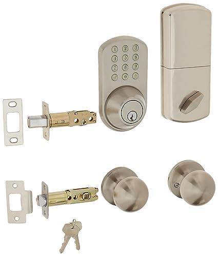 MiLocks TFK-02SN Digital Deadbolt Door Lock and Passage Knob Combo with Keyless Entry via  sc 1 st  Amazon.com & MiLocks TFK-02SN Digital Deadbolt Door Lock and Passage Knob Combo ...