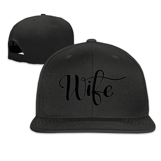 bd795a8995c3a Wife Art Font Flat Brim Baseball Cap Snapback Hat Adjustable Baseball Caps  Black