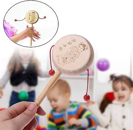 Lyguy sonajero de Madera, diseño Tradicional Chino de Dibujos Animados, sonajero de Mano para bebé, Juguete Musical 1 Pieza de Colores al Azar